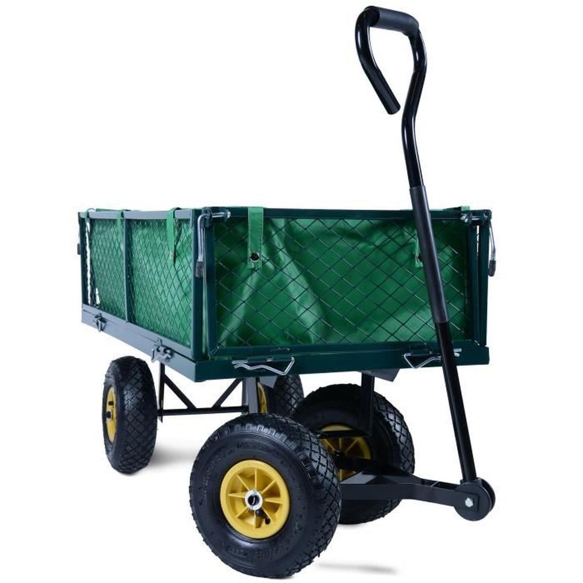 Chariot De Transport Jardin Charette Chariot Remorque À Main 4 Pneus Vert concernant Chariot De Jardin Multi Usage