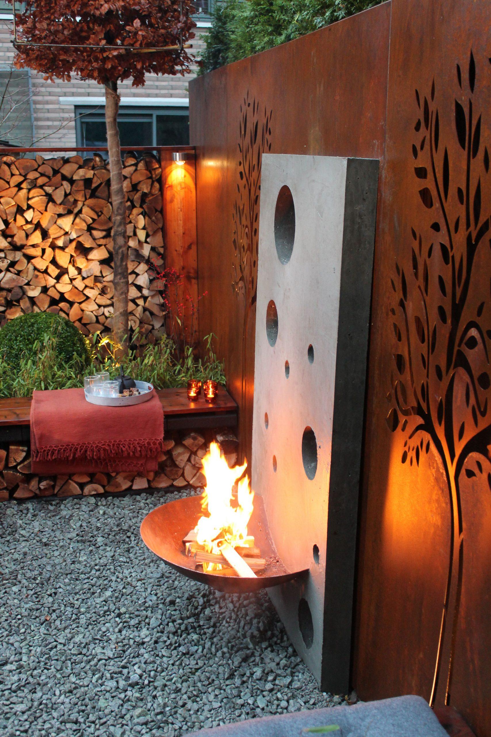 Cheminée Extérieure Contemporaine #terrasse | Decoration ... dedans Cheminee De Jardin