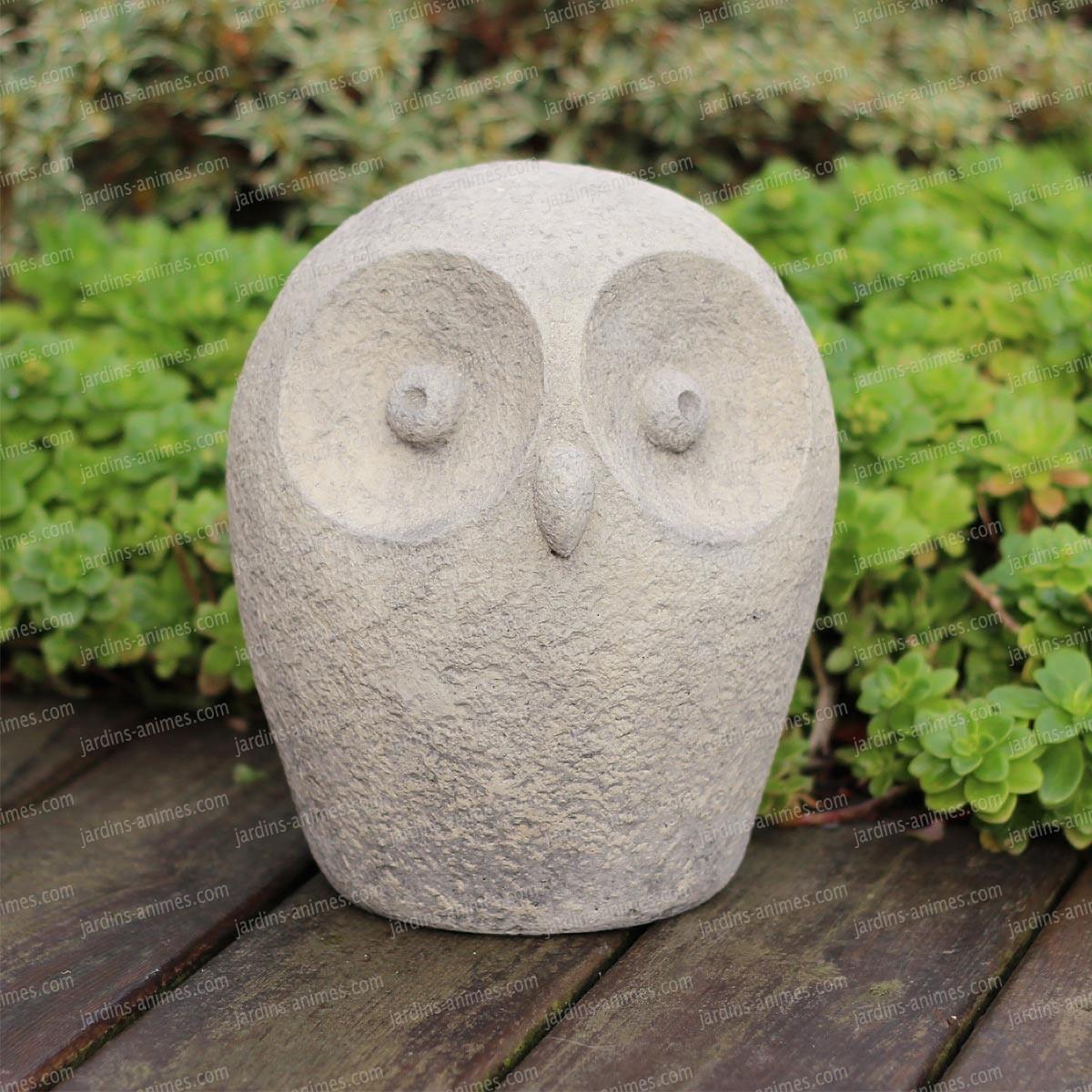 Chouette Décorative Arrondie En Béton dedans Jardins Animés Sculpture