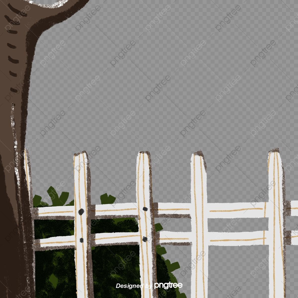 Clôture Blanche Petit Jardin Grand Arbre, Blanc, Clôture ... avec Arbre Pour Petit Jardin