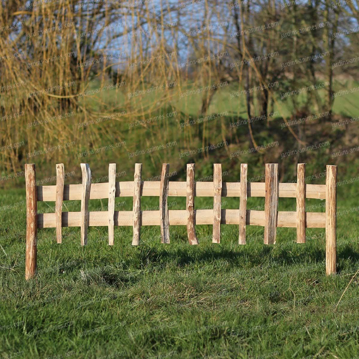 Cloture Bois Noisetier À Planter L.120Cm X H.50Cm destiné Bordure De Jardin En Bois Pas Cher