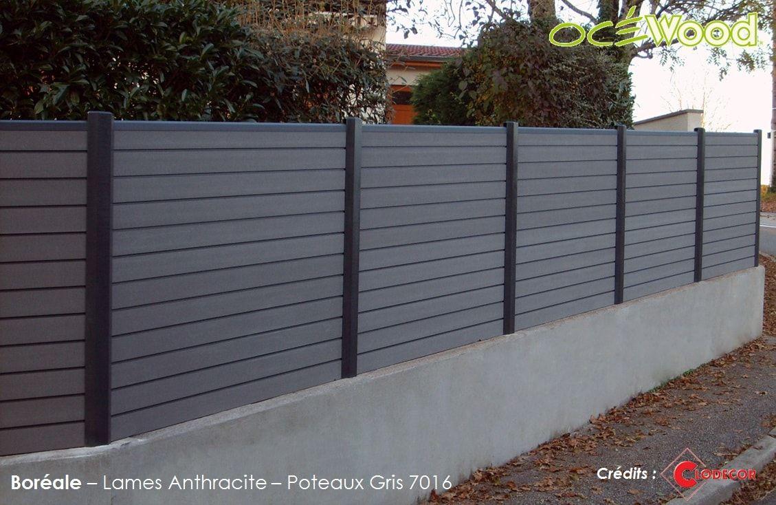 Cloture De Jardin Anthracite Sur Muret En Bois Composite ... avec Cloture Jardin Grillage Rigide