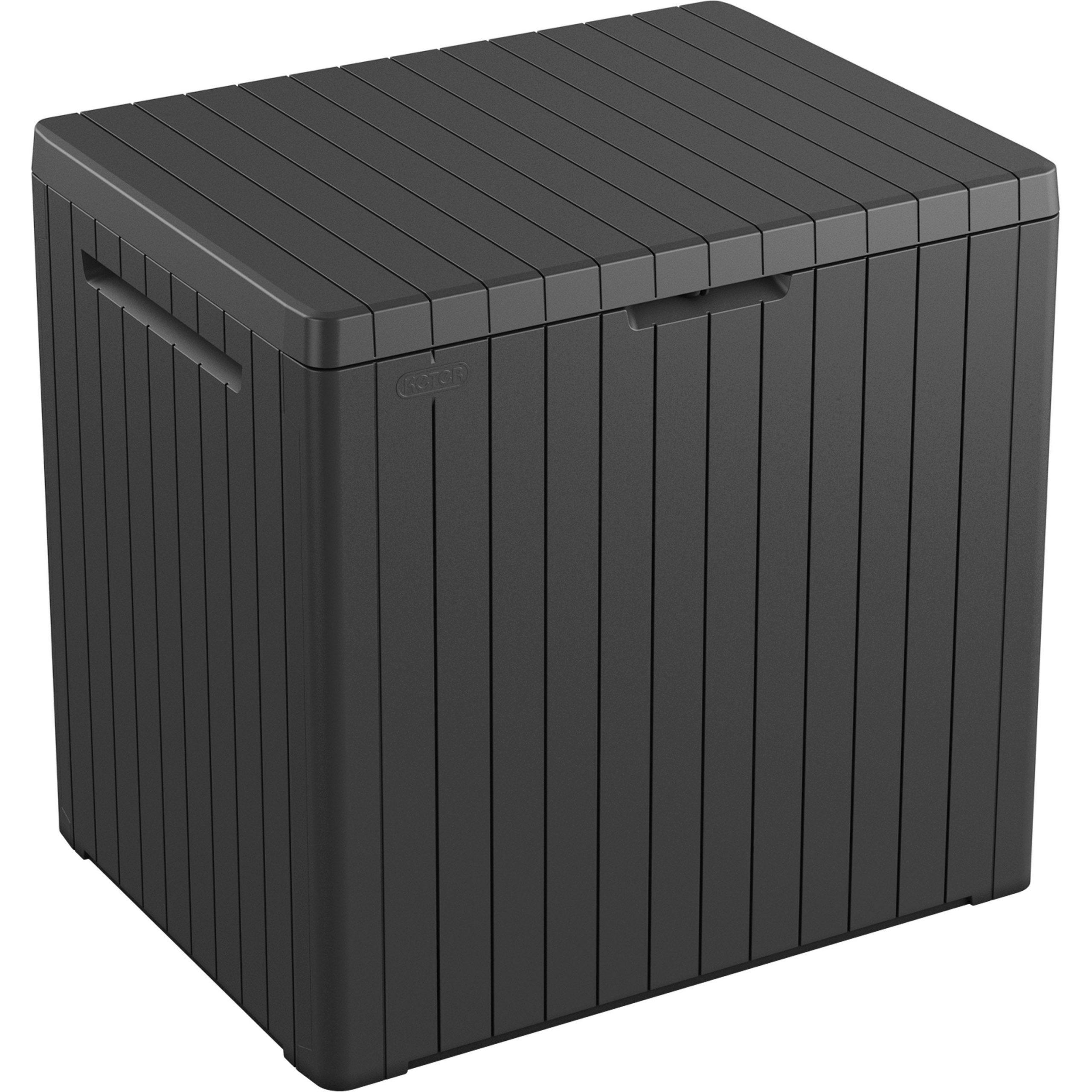 Coffre De Jardin Résine City Cube Gris, L.56 X H.57.5 X P.45 ... dedans Coffre De Jardin Keter