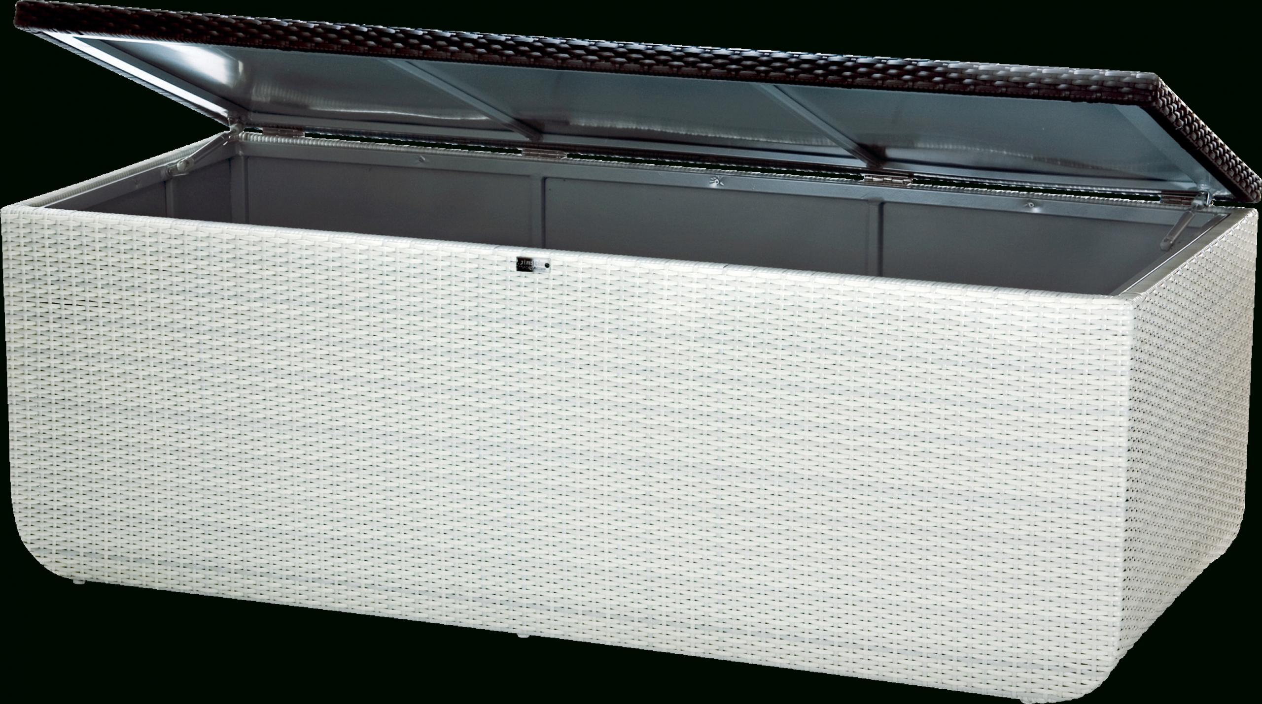 Coffre Extérieur Étanche Pour Le Jardin Prahia [Blanc & Chocolat] Cuve  Galvanisée, Acier, Vérin, Résine Tressée, Design, Haut De Gamme, Renfort,  ... encequiconcerne Coffre De Jardin Étanche