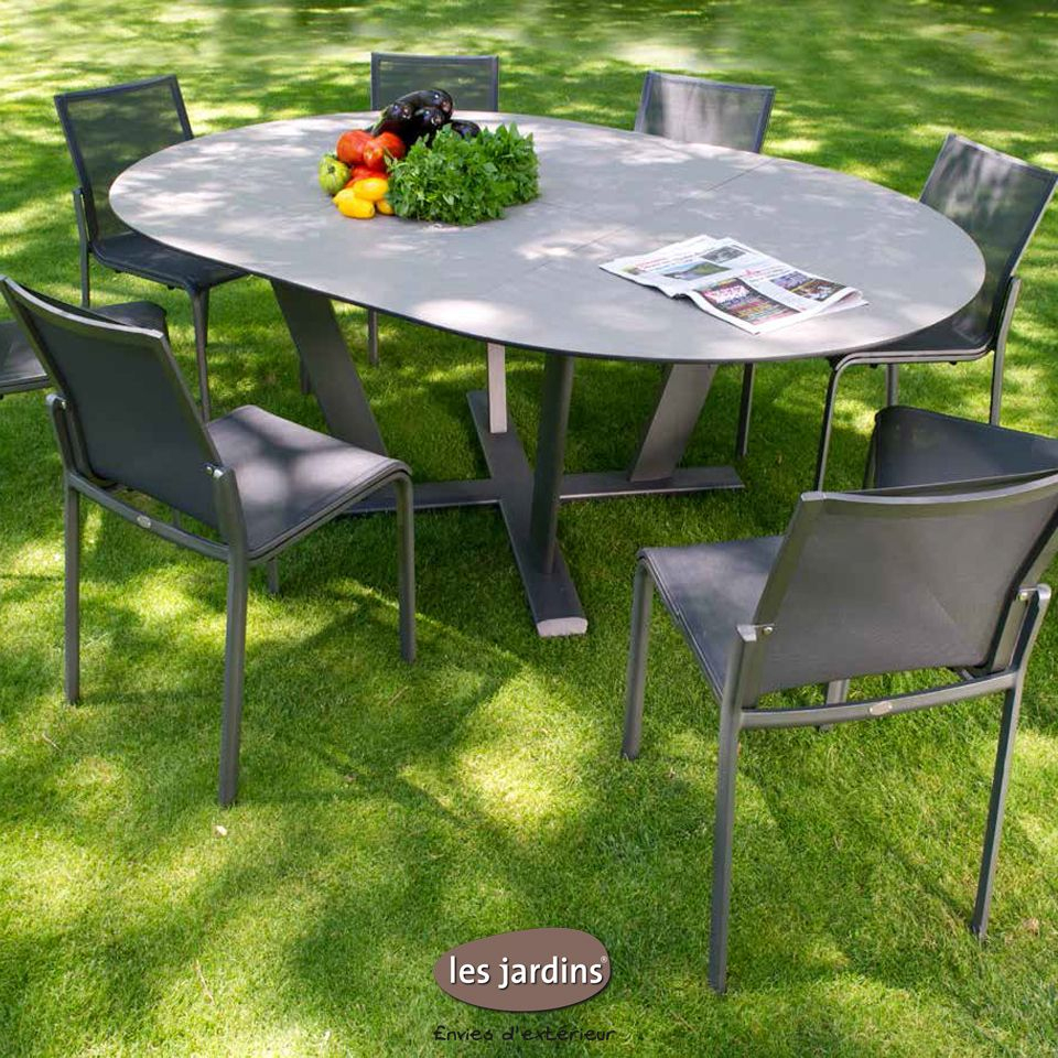 Collection Hegoa - Table Ronde Extensible (Allonge Papillon ... intérieur Table Jardin Aluminium Avec Rallonge