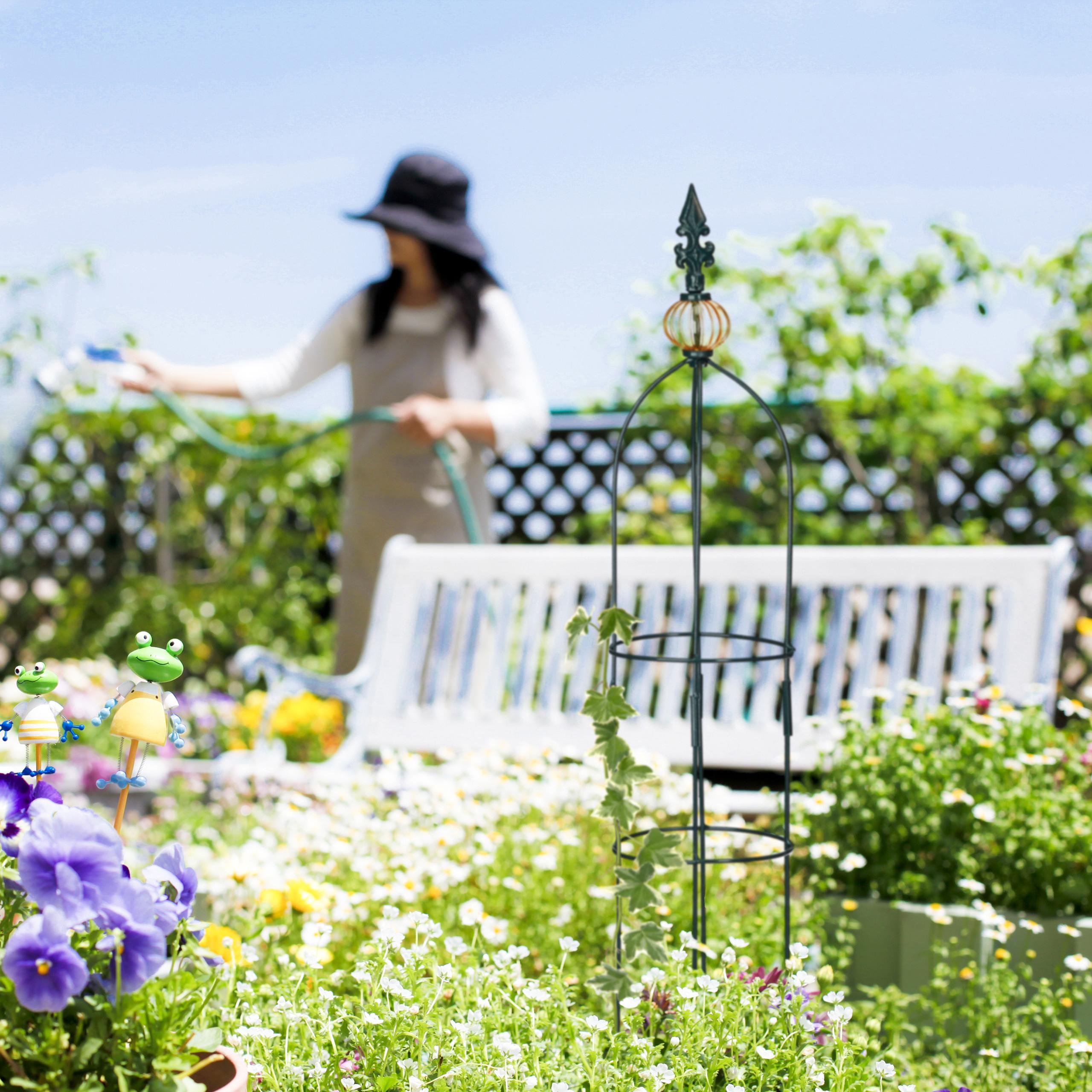 Colonne Rosier Arche Plante Grimpante Relaxdays Obélisque De ... concernant Arceau Jardin
