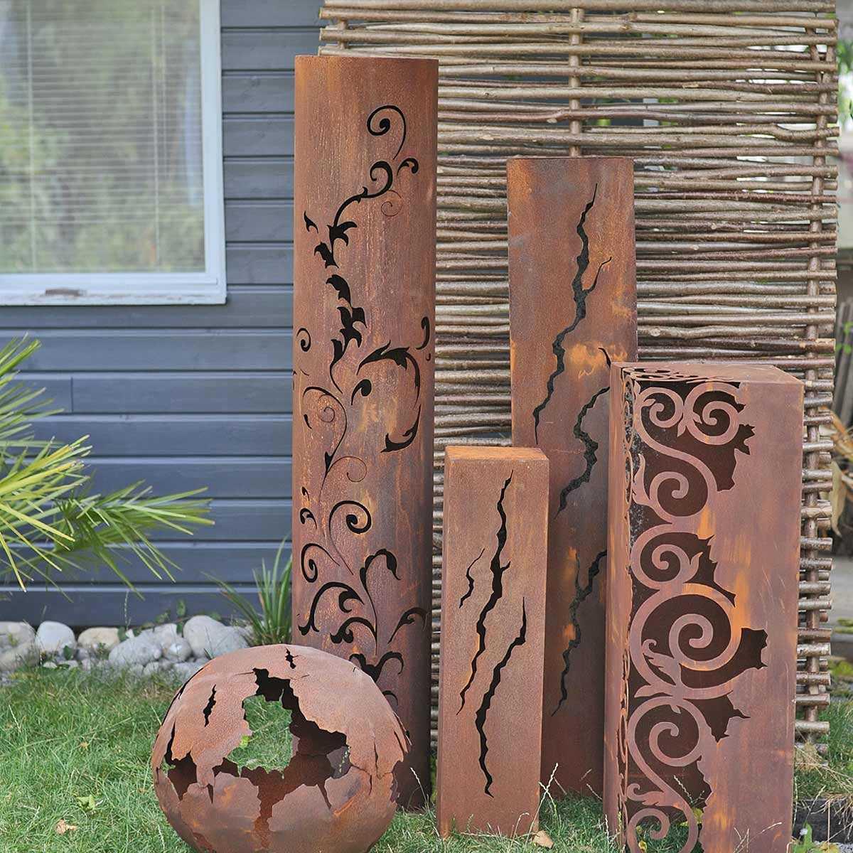 Colonnes Décoratives En Métal Pour Le Jardin avec Boule Décorative Jardin