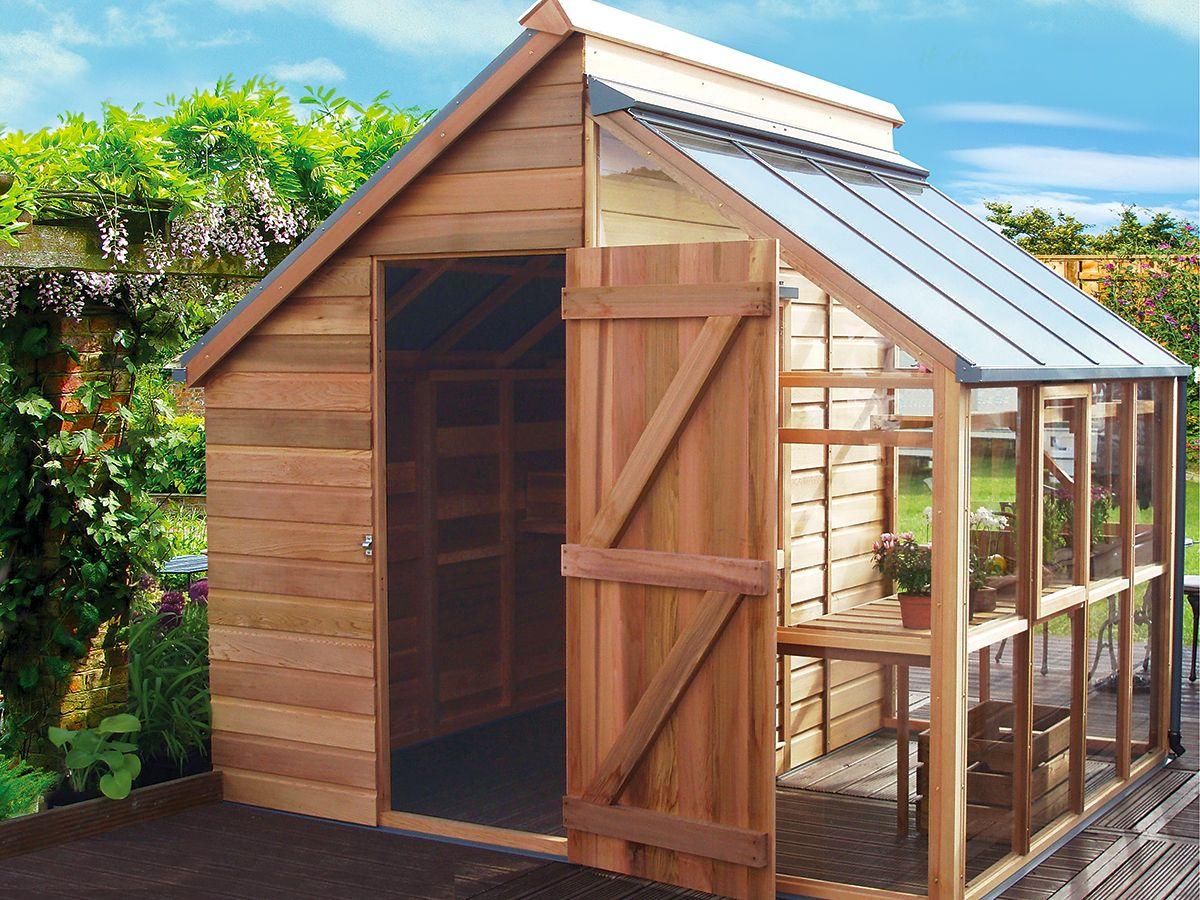 Combiné Serre Et Abris De Jardin … | Abri De Jardin ... destiné Construire Une Cabane De Jardin