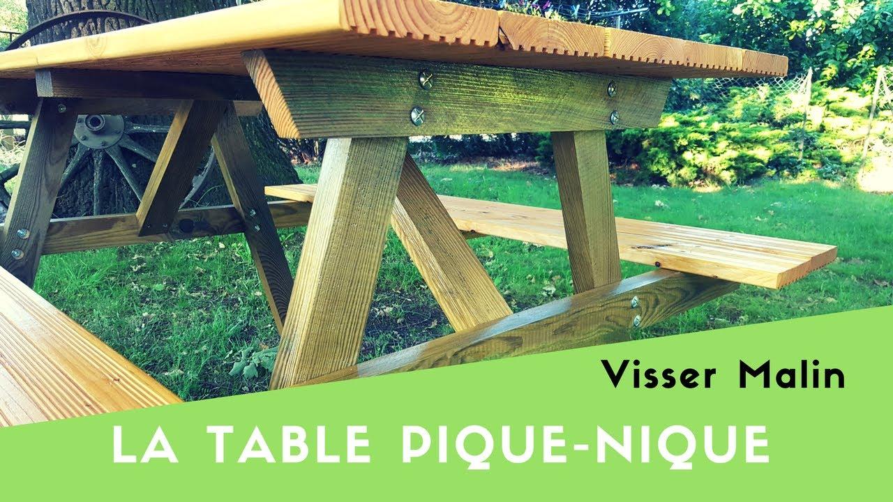 Comment Fabriquer Une Table Pique Nique - Ep38 concernant Table De Jardin En Bois Avec Banc Integre