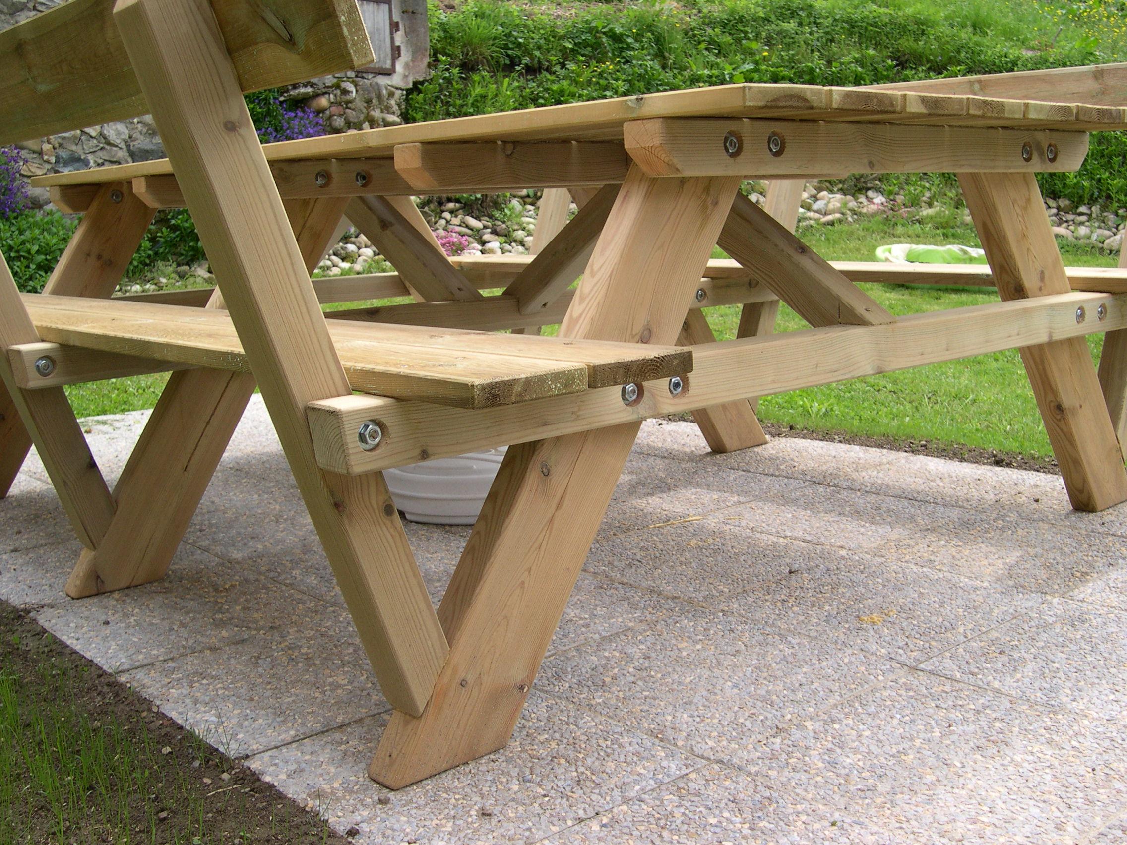 Construction D'une Table Pique-Nique | Asv850 intérieur Table De Jardin En Bois Avec Banc Integre