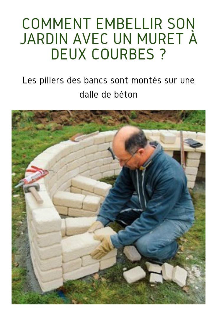 Construire Un Muret À Deux Courbes En Pierre Reconstituée ... intérieur Petit Muret En Pierre Pour Jardin