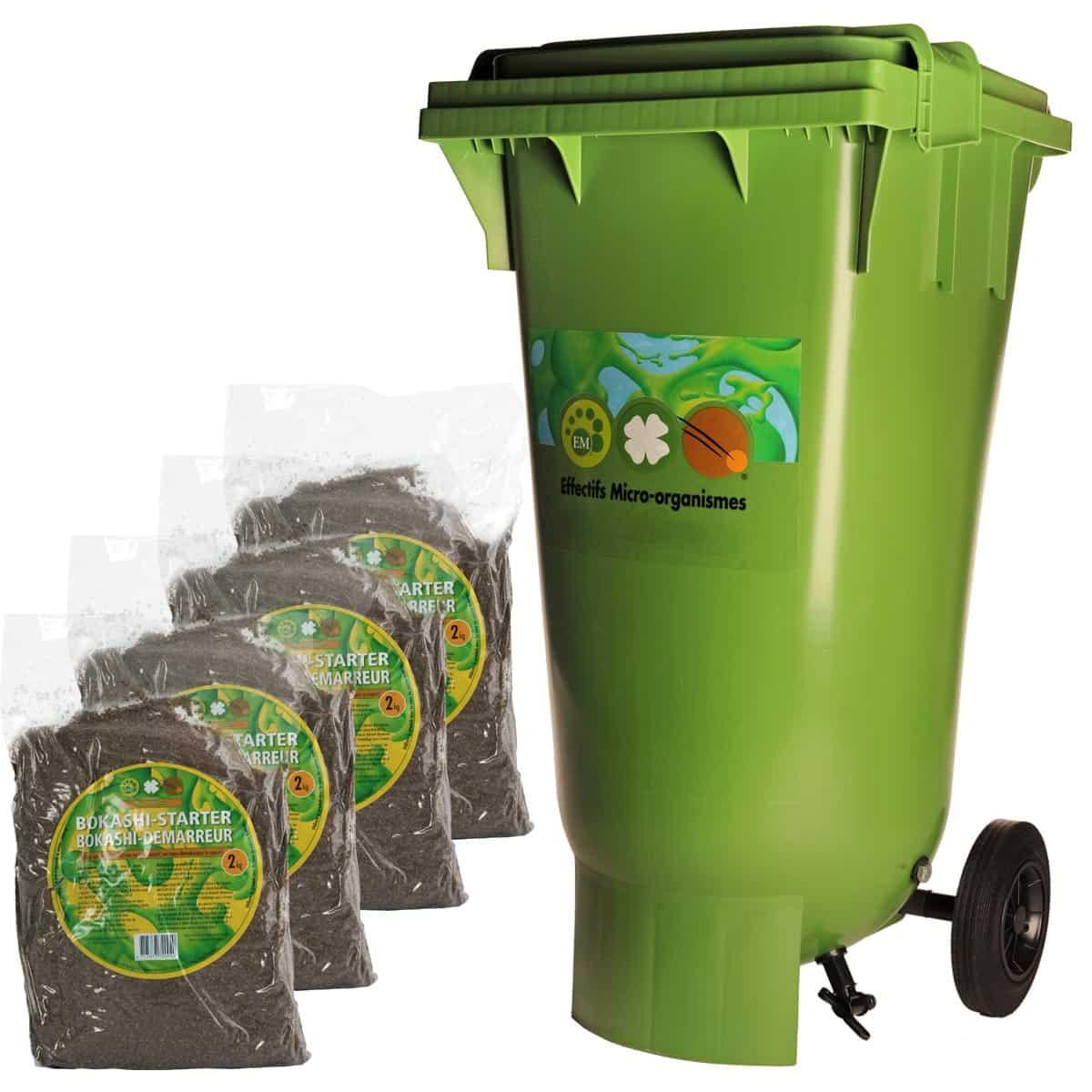 Conteneur 120L Compost Bokashi & Micro Organismes intérieur Jardin En Kit Pret A Planter