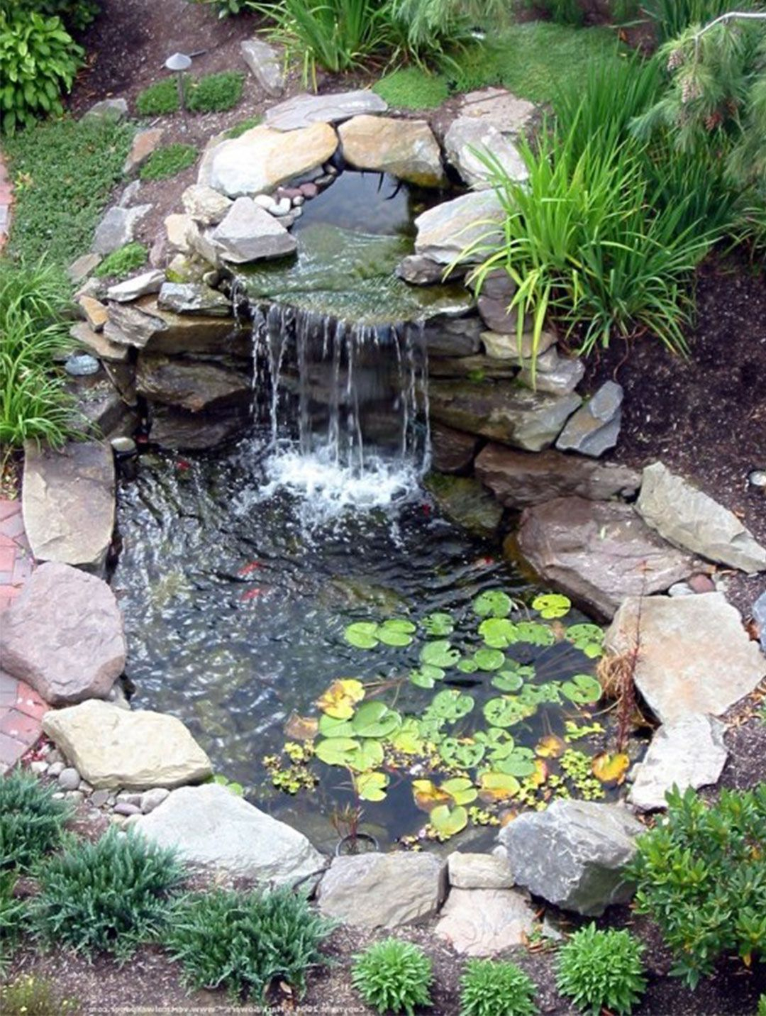 Cool Backyard Pond Design Picture Image | Bahçe Şelaleleri ... tout Kit Bassin Jardin