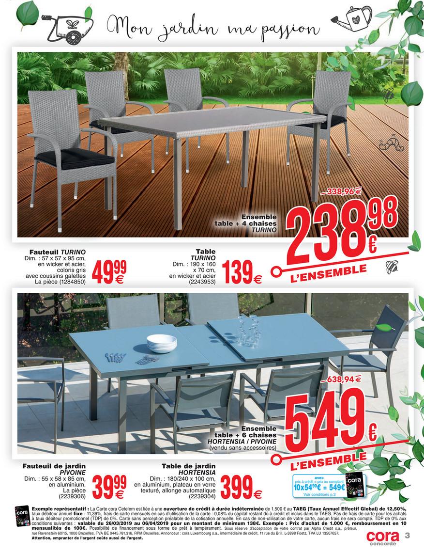 Cora - 2603 Mobilier De Jardin À Cora Concorde - Page 1 tout Table De Jardin Cora