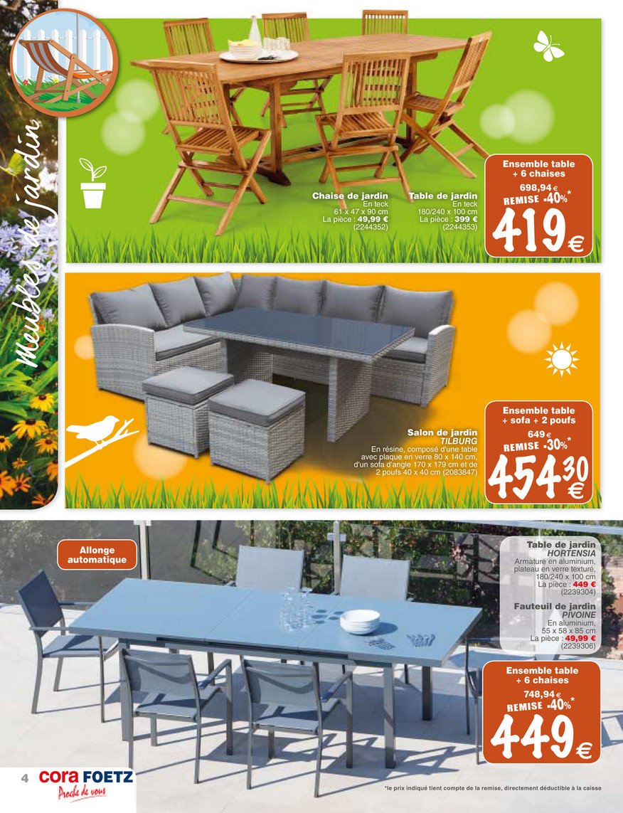 Cora Fr - Foetz-Mobilier-Jardin - Page 4-5 destiné Cora Table De Jardin