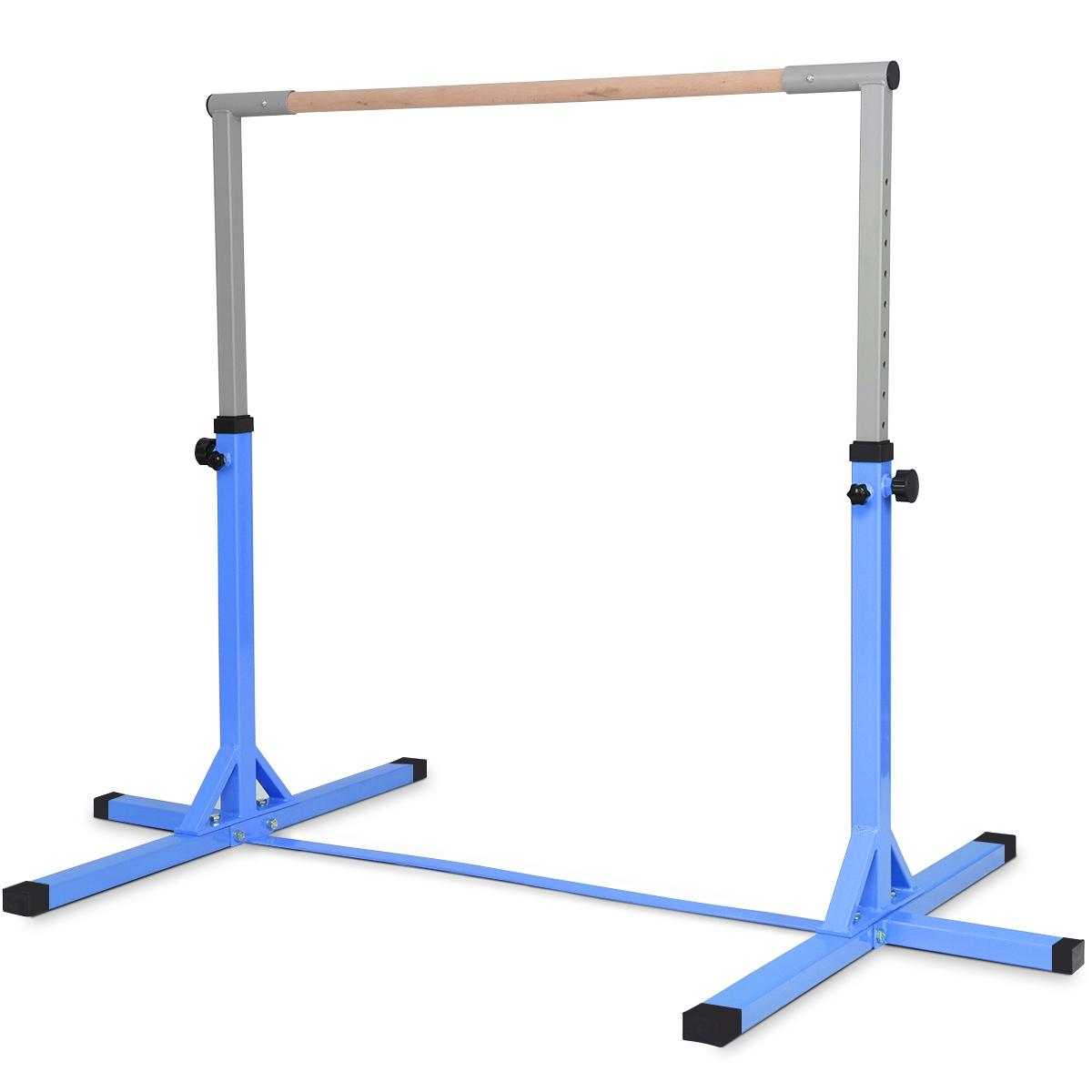 Costway Barre De Gymnastique En Acier Hauteur Réglable De 91 À 150Cm  Capacité De Poids 100Kg Bleu destiné Barre De Gymnastique Pour Jardin