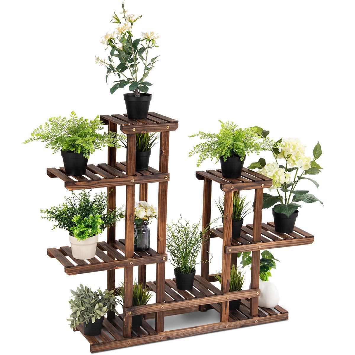 Costway Etagère À Fleurs En Bois Porte Pot De Plantes Avec 6 ... avec Salon De Jardin Pour Balcon