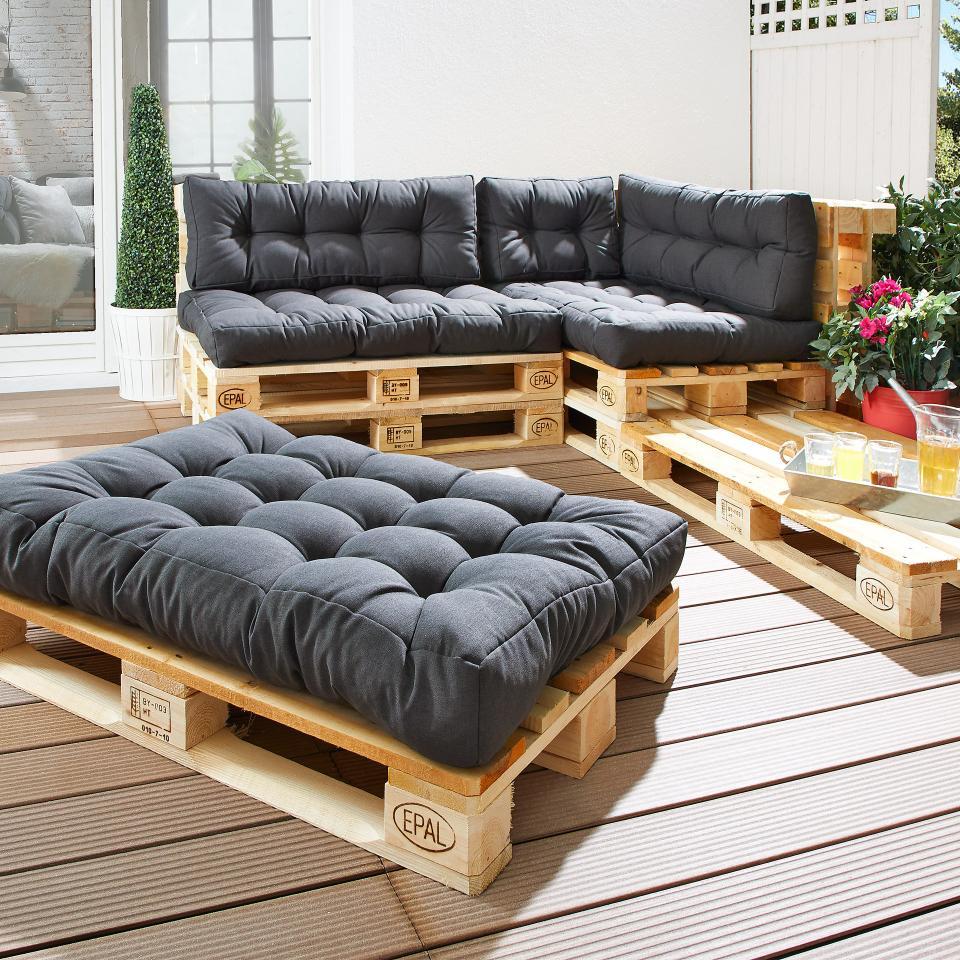 Coussin D'assise Pour Palettes Euro (80X120, Anthracite) concernant Coussin Pour Salon De Jardin En Palette