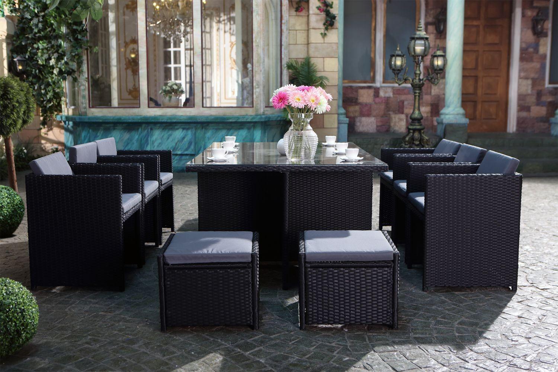 Coussin De Salon De Jardin Ikea - Miami 10 Noir/gris tout Salons De Jardin Ikea
