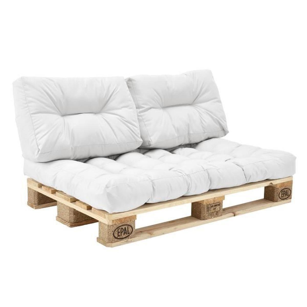 Coussin Palette Blanc dedans Coussin Pour Salon De Jardin En Palette
