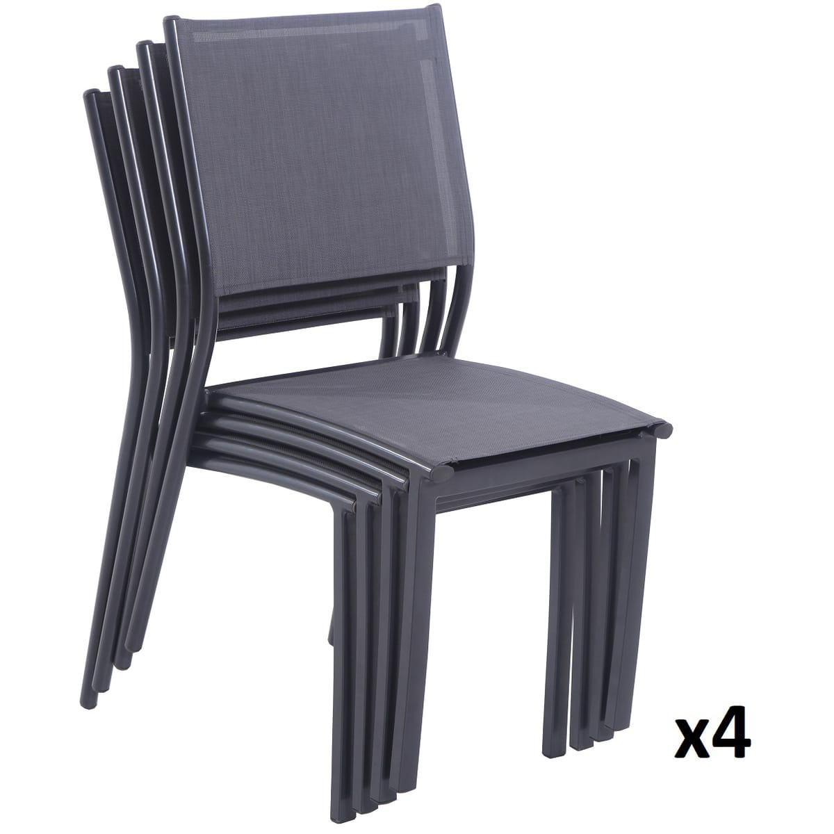 Creador Lot De 4 Chaises Empilables Textilène Gris Anthracite Clara pour Auchan Salon De Jardin