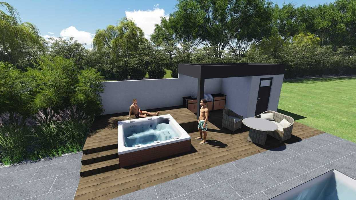 Création De Plans De Jardin 3D - Piscine, Spa, Aménagement ... tout Aménagement Jardin Avec Spa