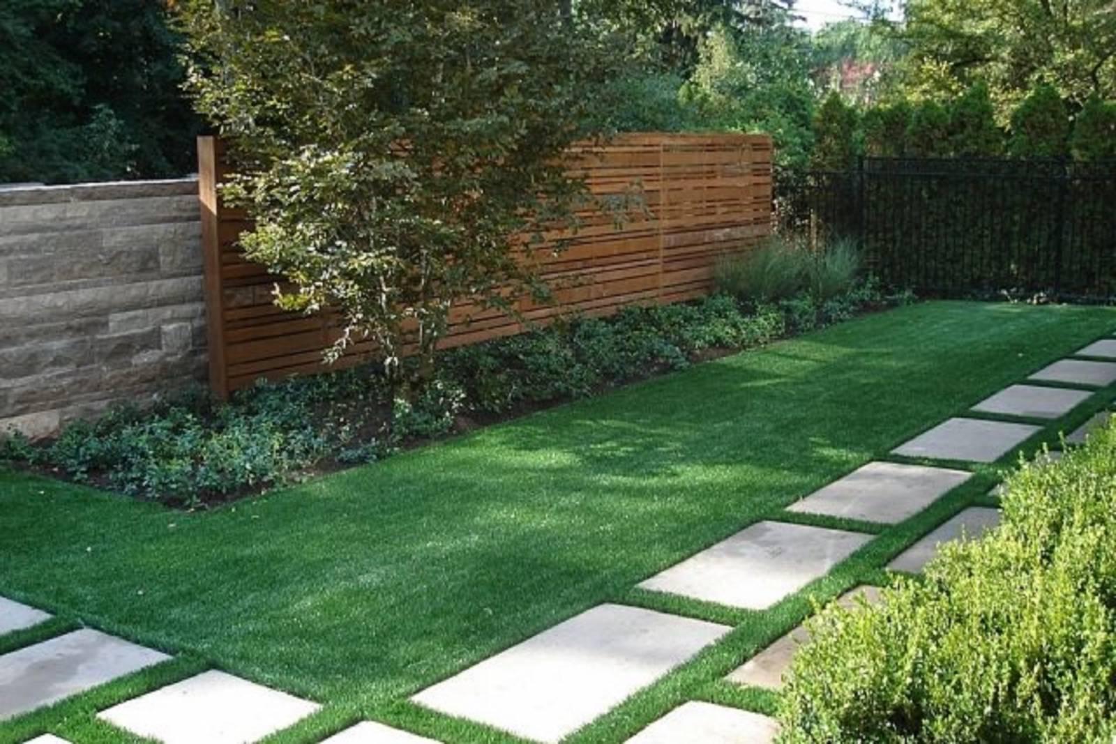 Création D'une Allée De Jardin Avec Gazon En Plaques Par ... tout Jardin Paysager Avec Galets