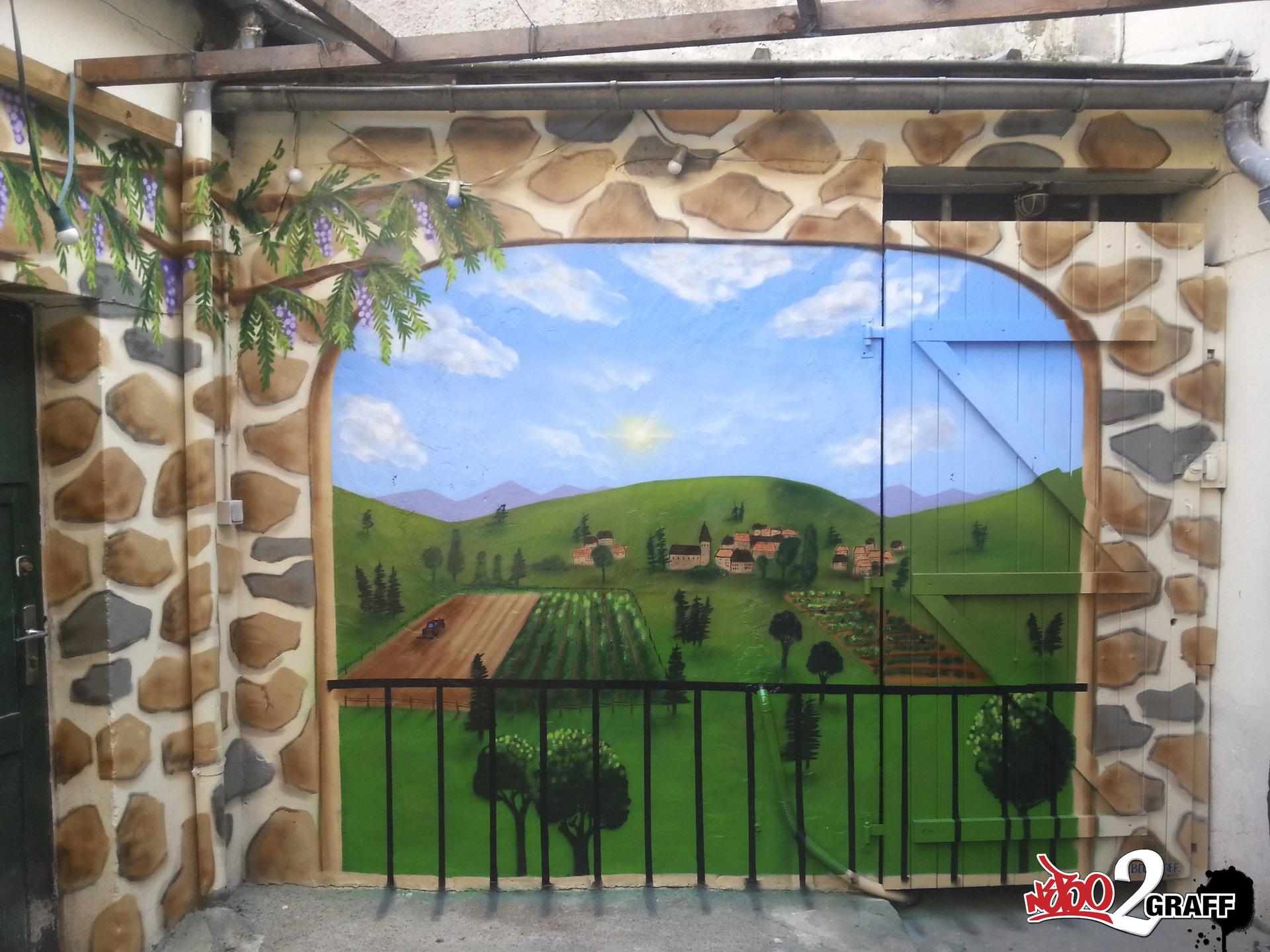 Cuisine: Fresques Urbaines Dans Les Espaces Publiques Hard ... serapportantà Trompe L Oeil Exterieur Jardin
