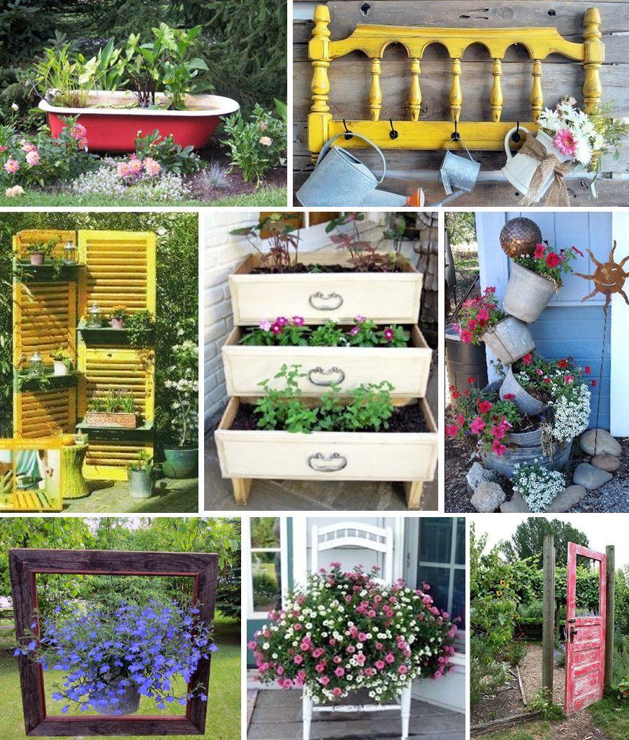 Décoration De Jardin En Objets De Récup' : Des Idées ... destiné Objets Decoration Jardin Exterieur