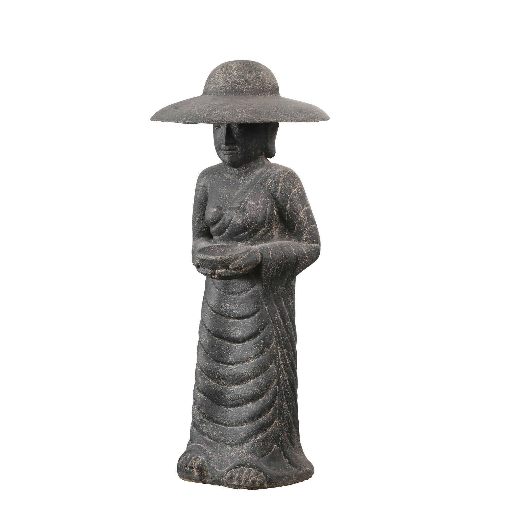 Décoration De Jardin Statue Fermier Coréen En Pierre ... dedans Statue De Jardin En Pierre Reconstituée