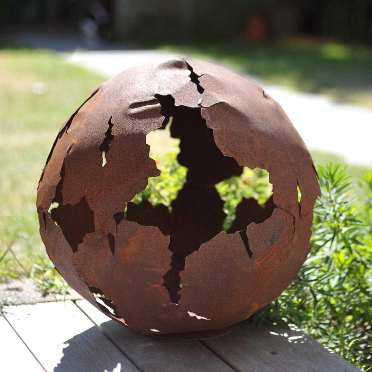 Décoration D'extérieur Boule Métal Rouille Décoration Acier ... pour Deco Metal Jardin