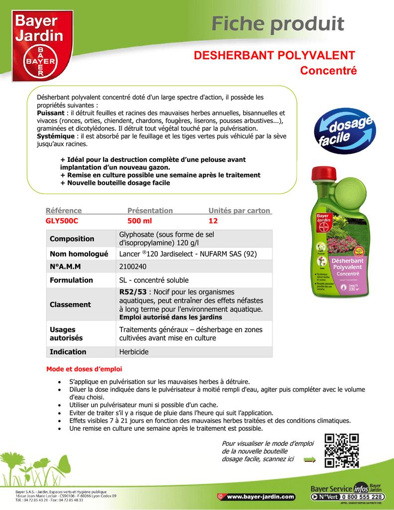 Desherbant Polyvalent Concentré   Manualzz dedans Bayer Jardin Desherbant Gazon