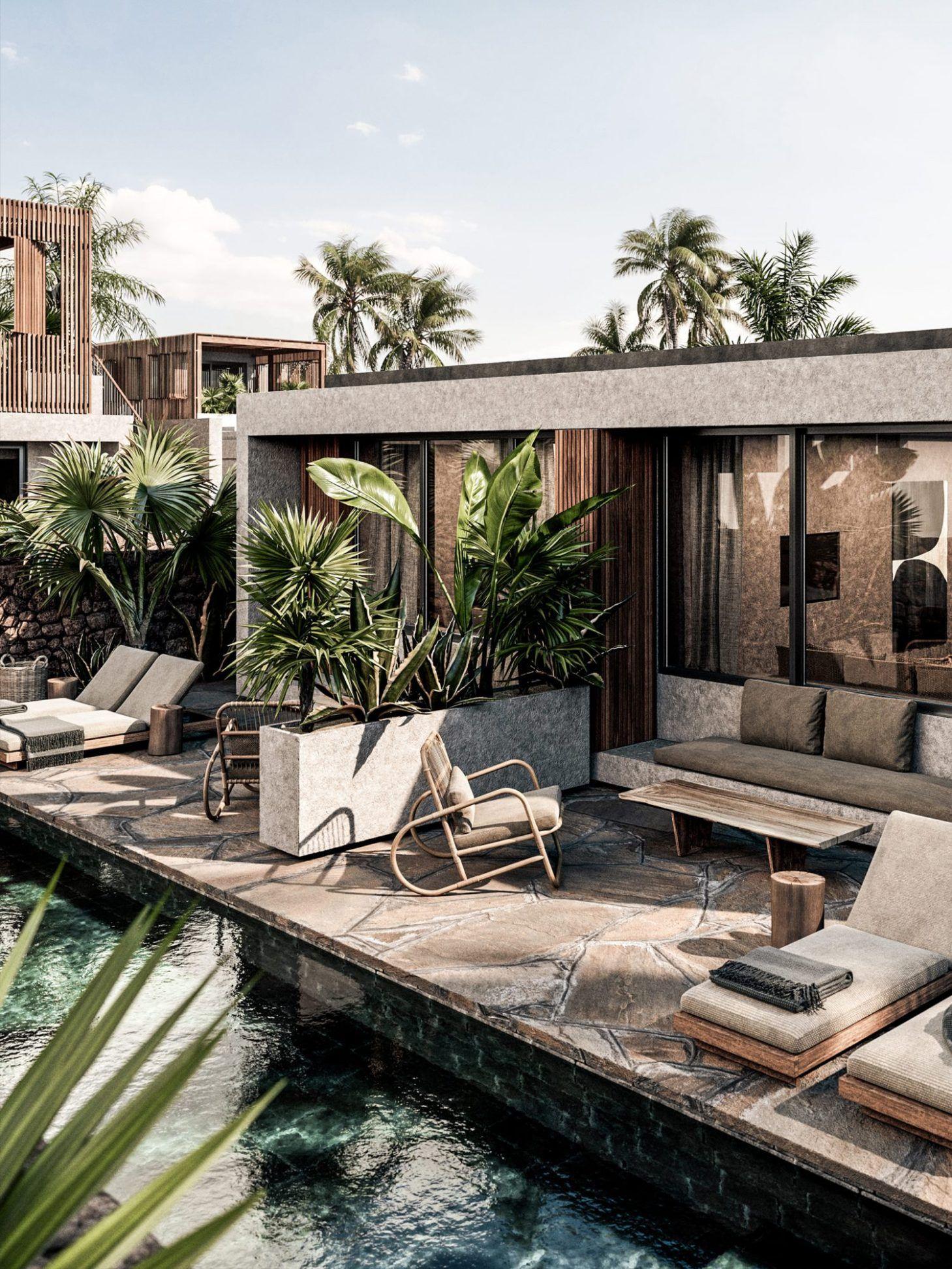 Design En Tons De Terre En Crète - Planete Deco A Homes ... destiné Bungalow De Jardin Design