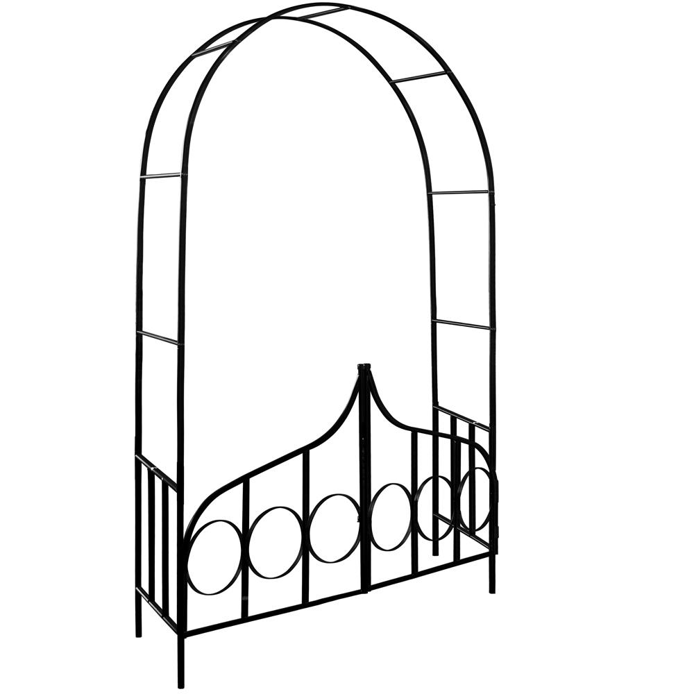 Détails Sur Arceau De Rosier - Arcade Rose Lierre Jardin Porte  Verrouillable - 240X140X40Cm intérieur Arceau De Jardin