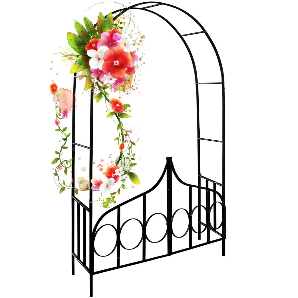 Détails Sur Arceau De Rosier - Arcade Rose Lierre Jardin Porte  Verrouillable - 240X140X40Cm pour Arceau Jardin