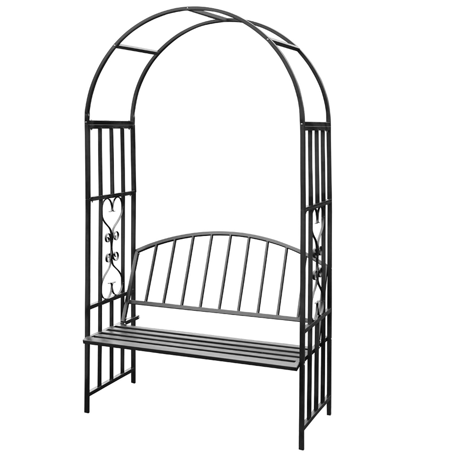 Détails Sur Arche De Jardin Avec Banc Arceau De Jardin Support À Rosier Et  Plante Grimpante pour Arche De Jardin Avec Portillon