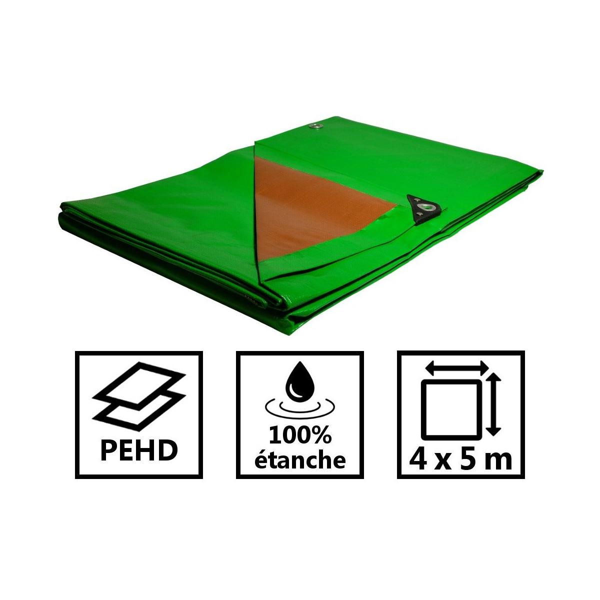 Détails Sur Bâche Plastique 4X5 M Étanche Traitée Anti Uv Verte Et Marron  250G/m² - Bâche De destiné Bache Verte Jardin