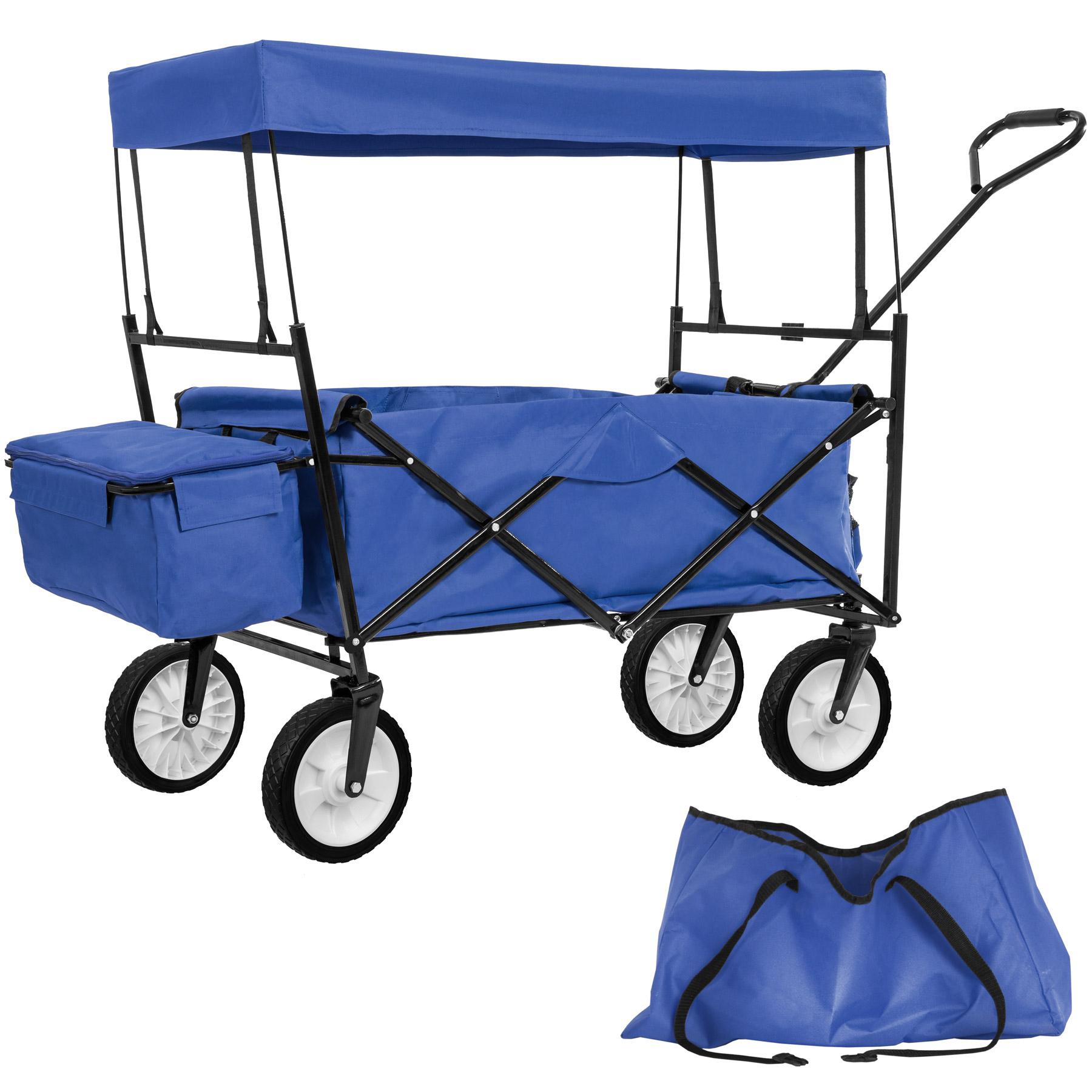 Détails Sur Chariot Pliable Avec Toit Amovible Charrette De Transport À  Tirer Main Bleu à Charrette De Jardin