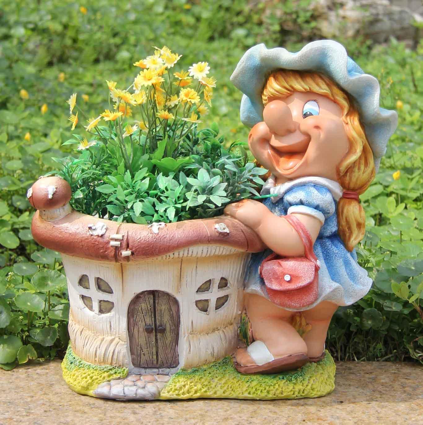Détails Sur Design Nain Fille Avec Pot De Fleurs 30 Cm 91026-2 Jardin  Décoration pour Nain De Jardin Design