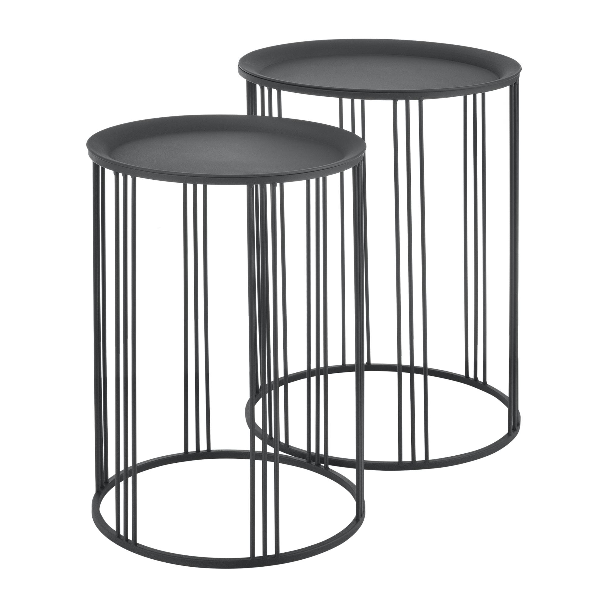Détails Sur [En.casa] Ensemble De 2 Tables De Salon Table De Rangement  Métal Noir Tailles destiné Table Basse De Jardin Ikea