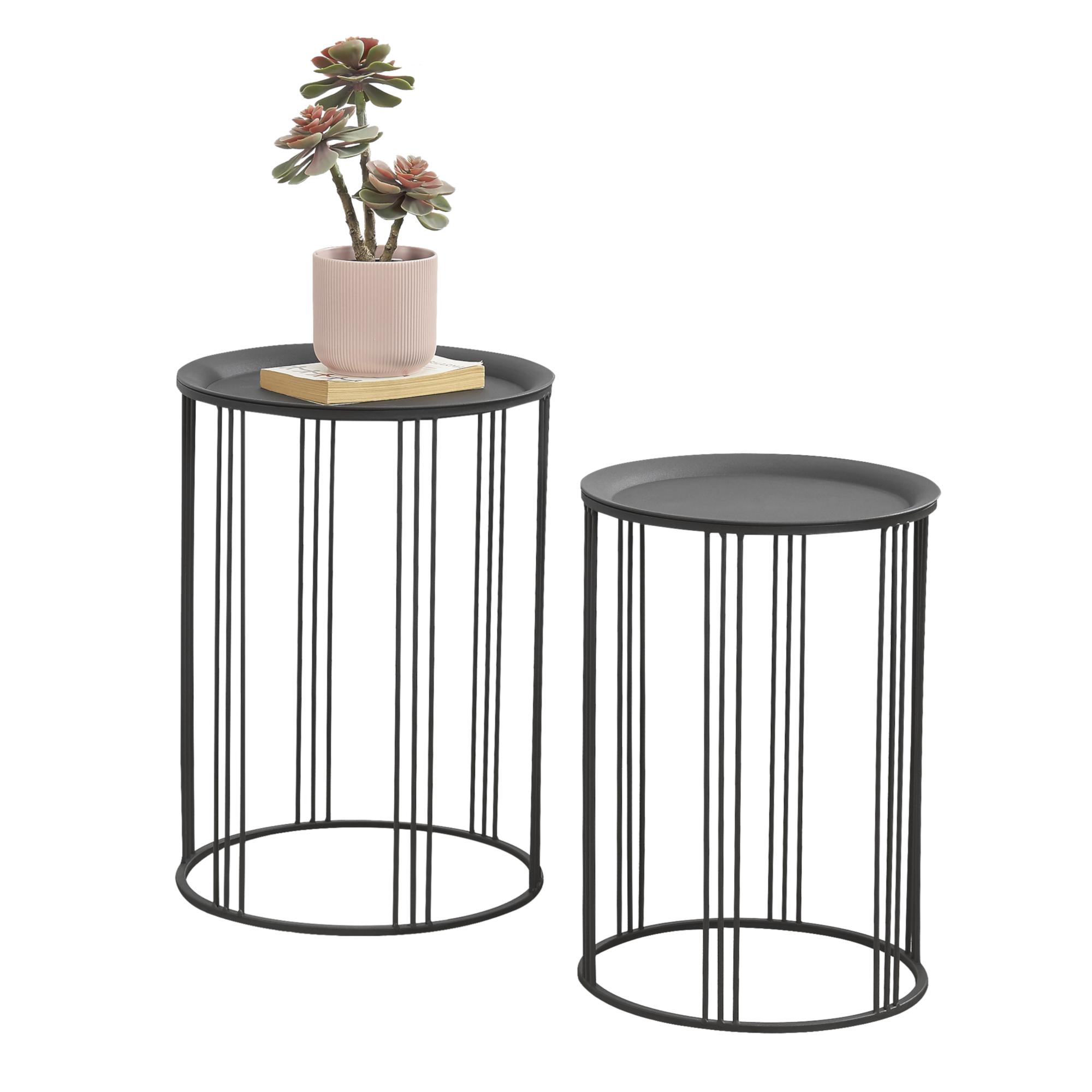 Détails Sur [En.casa] Ensemble De 2 Tables De Salon Table De Rangement  Métal Noir Tailles intérieur Table Basse De Jardin Ikea