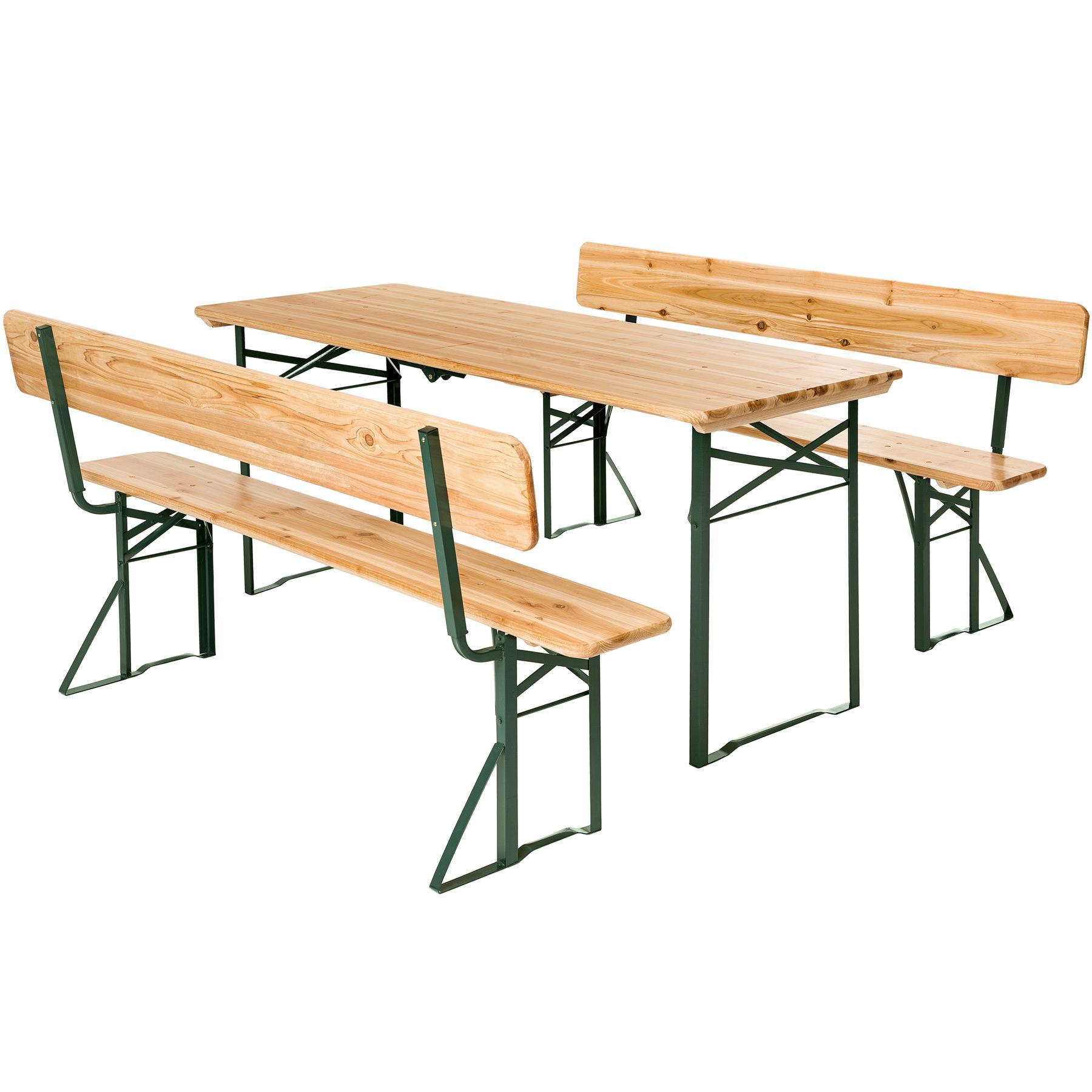 Détails Sur Ensemble De Table Et Bancs Avec Dossier Meubles De Jardin Fête  Set Bois Pliable intérieur Table De Jardin Pliante En Bois