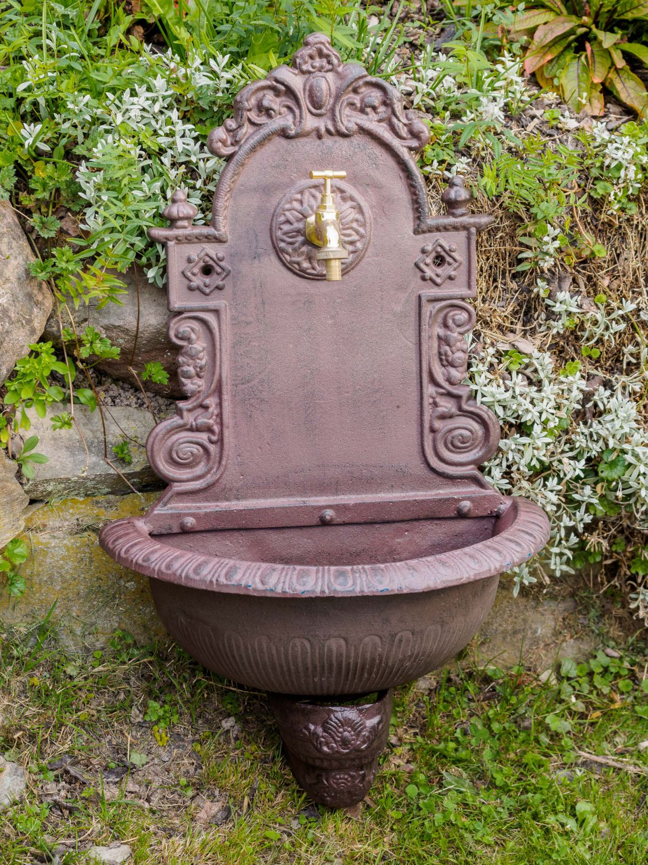 Détails Sur Fontaine Murale De Jardin Avec Vasque - Fonte - Motif Floral -  Style Antique à Fontaine De Jardin En Fonte