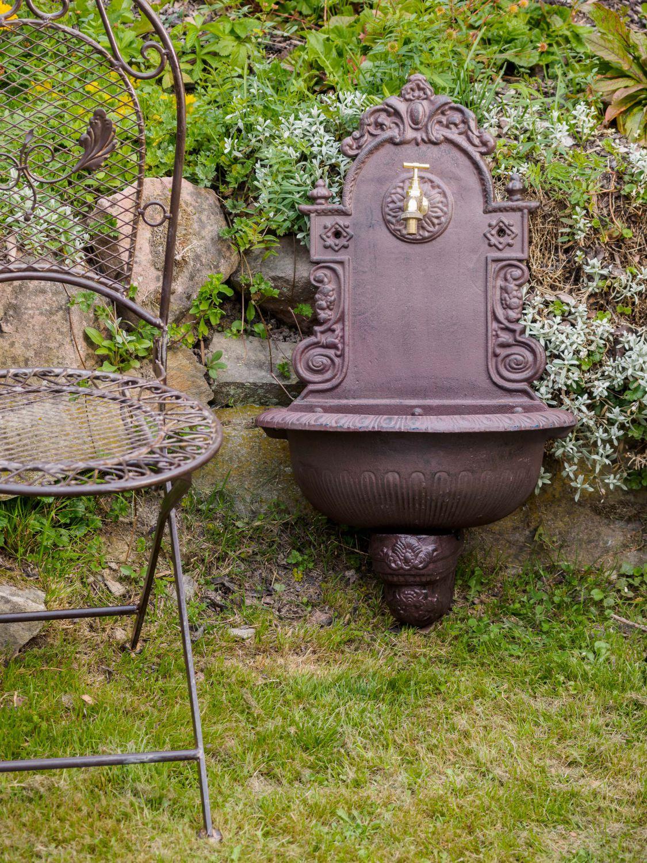 Détails Sur Fontaine Murale De Jardin Avec Vasque - Fonte - Motif Floral -  Style Antique dedans Fontaine De Jardin En Fonte