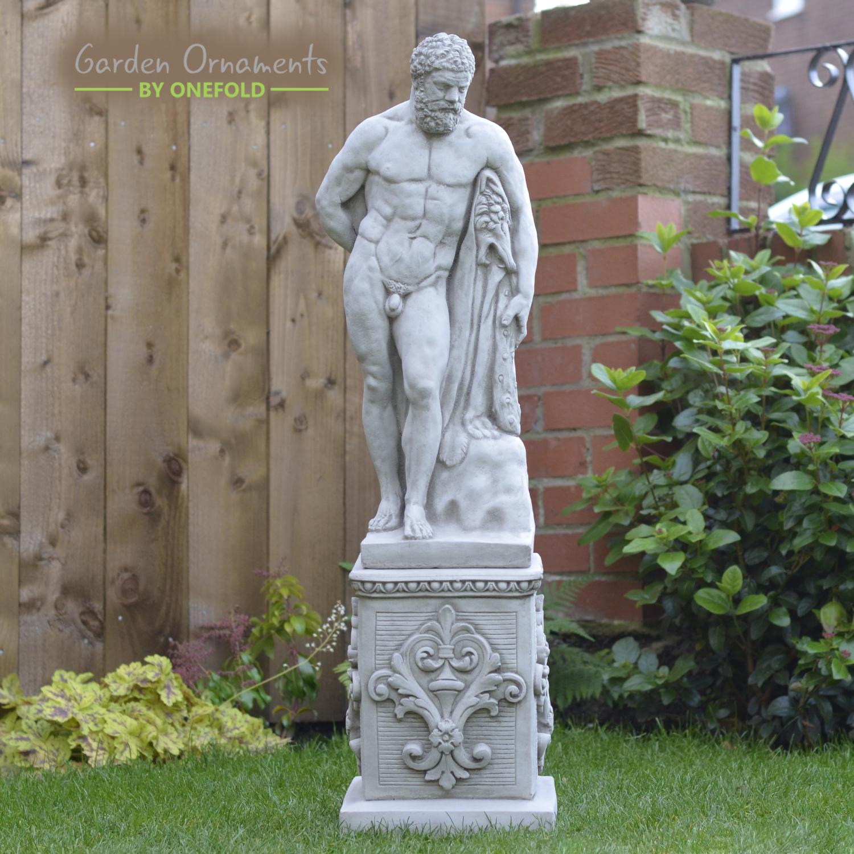 Détails Sur Grand Antique Hercules Et Socle Fonte Statue En Pierre Jardin  Ornement ⧫ Onefold-Uk- Afficher Le Titre D'origine encequiconcerne Statut De Jardin