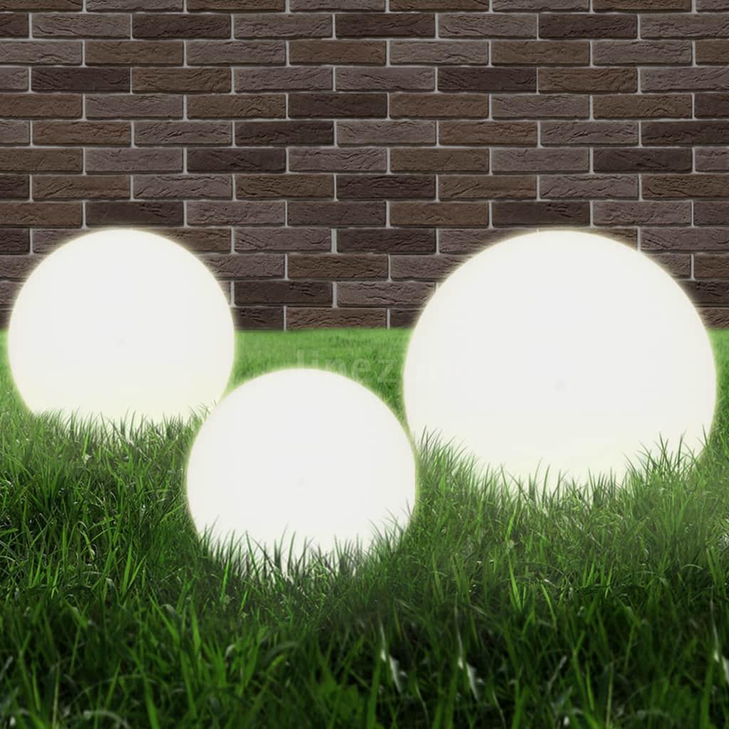 Détails Sur Lampe Boule À Led 3 Pcs Pmma Sphérique Jardin Chemin Éclairage  20/30/40 Cm N5B1 intérieur Boule Décorative Jardin
