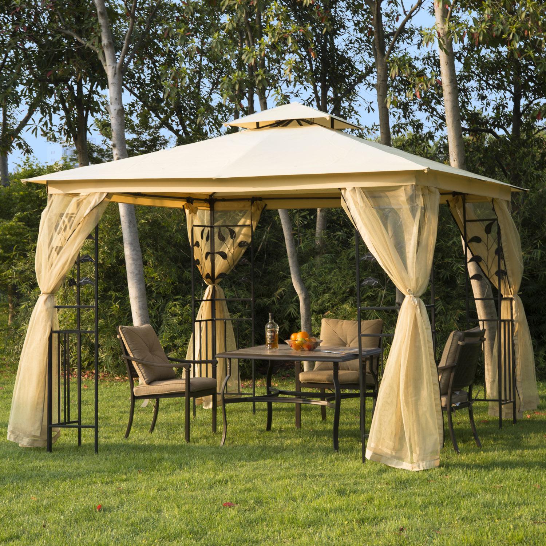 Détails Sur Outsunny Tonnelle De Jardin Barnum Style Colonial Double Toit 3  X 3 X 2,65 M encequiconcerne Tonelle Jardin