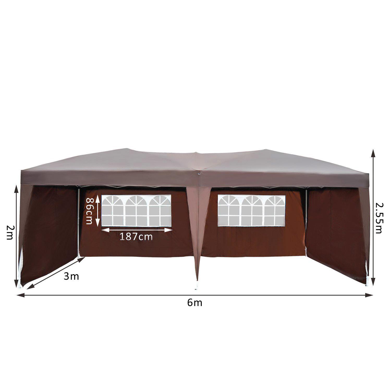 Détails Sur Outsunny Tonnelle De Jardin Tente Pavillon Chapiteau Pliable  Anti-Uv 6X3M destiné Tente De Jardin Pliante