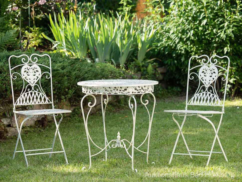 Détails Sur Salon De Jardin - 1 Table Et 2 Chaises - Fer ... à Balancelle Fer Forgé Jardin