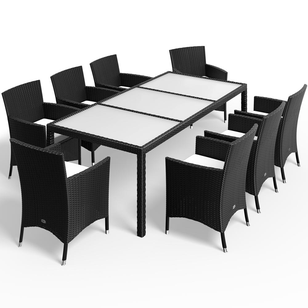 Détails Sur Salon De Jardin Polyrotin Noir 8 Chaises Empilables Table  Plateau En Verre encequiconcerne Salon De Jardin Aluminium Et Verre